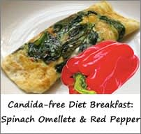 Candida Free Diet Breakfast Menu: Spinach Omellete with Red Bell Pepper