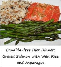 Candida Free Diet Dinner Menu: Grilled Salmon with Wild Rice and Asparagus