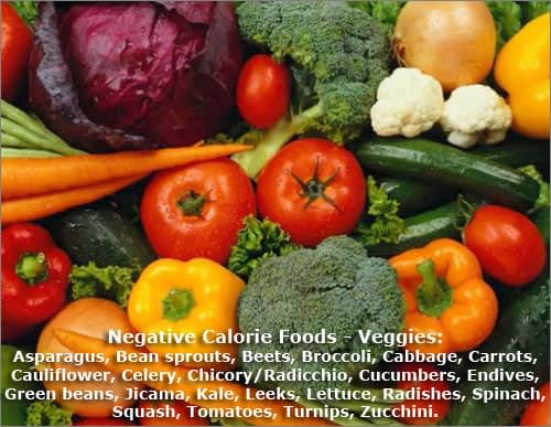 List Of Negative Calorie Food: Vegetables
